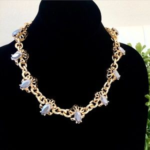 LEE ANGEL gold bubble gray stone necklace NWT $138